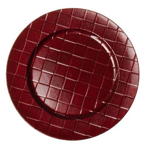 RED Checkered Charger Plate / Underplates 33cm